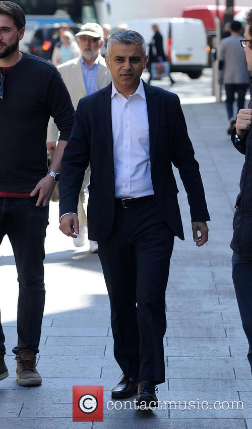 Sadiq Khan arrives at Global House