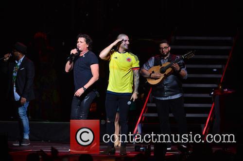 Edgar Rios, Mayda Belen, Quique Domenech Of The Latin Group Tres, Carlos Vives and Maluma 3