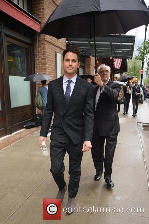 Matt Bomer spotted wearing a pinstipe suit in...