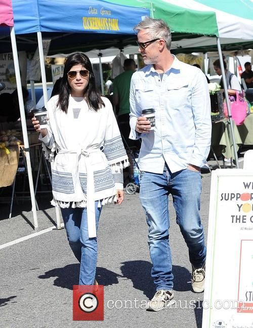 Selma Blair at the Farmers Market with a...