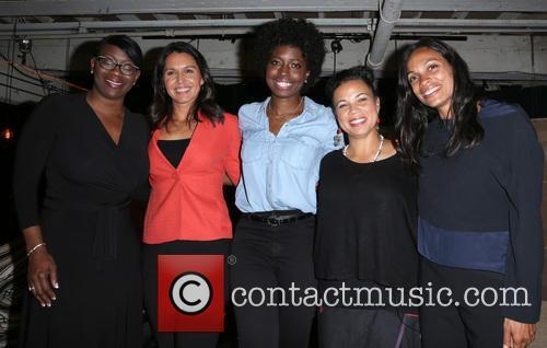 Nina Turner, Tulsi Gabbard, Erica Williams Simon, Melina Abdullah and Rosario Dawson 2