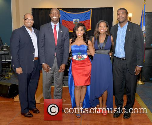 Justice, Saskya Sky, Haiti Minister Of Tourism Guy Didier Hyppolite, City Of Miramar Mayor Wayne Messam, City Of Miramar Commissioner Darline B. Riggs and Haiti Counsul Guy Francois Jr. 1