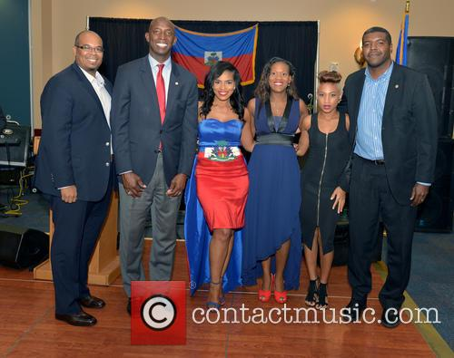 Justice, Saskya Sky, Haiti Minister Of Tourism Guy Didier Hyppolite, City Of Miramar Mayor Wayne Messam, City Of Miramar Commissioner Darline B. Riggs and Haiti Counsul Guy Francois Jr. 2