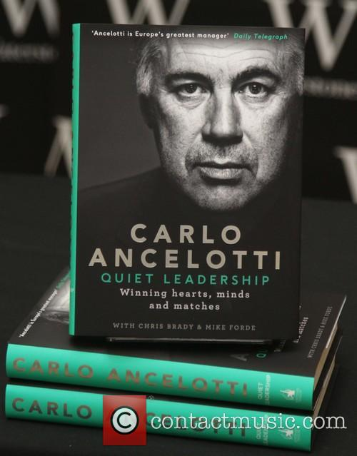 Carlo Ancelotti signs copies of his autobiography 'Quiet...