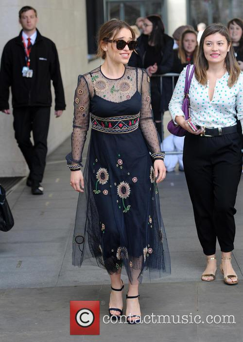 Emilia Clarke at the BBC Radio 1 studios