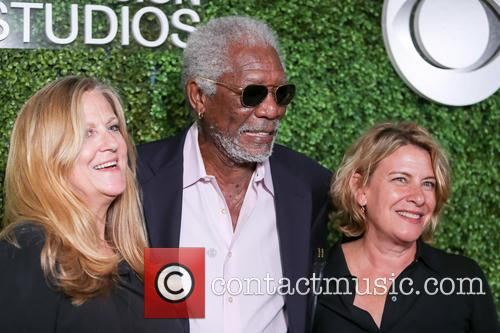 Morgan Freeman, (l-r) Producer Lori Mccreary, Writer Barbara Hall and Cbs 1