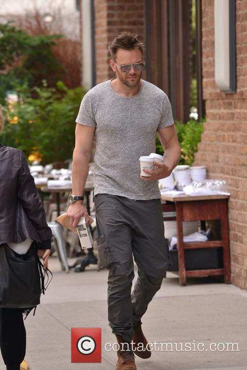 Joel McHale going out for coffee in New...