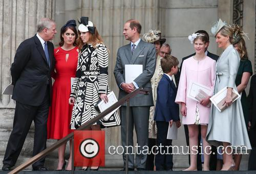 Prince Andrew, Princess Eugenie, Princess Beatrice, Prince Edward, James Viscount Severn, Lady Louise Windsor and Sophie Countess Of Wessex 6