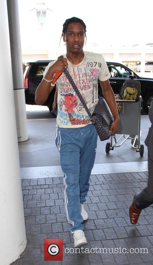 ASAP Rocky departs on a flight from LAX