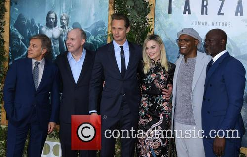 Christoph Waltz, Alexander Skarsgard, Margot Robbie, Samuel L. Jackson and Djimon Hounsou