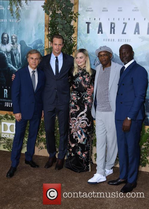 Christoph Waltz, Alexander Skarsgard, Margot Robbie, Samuel L. Jackson and Djimon Hounsou 3