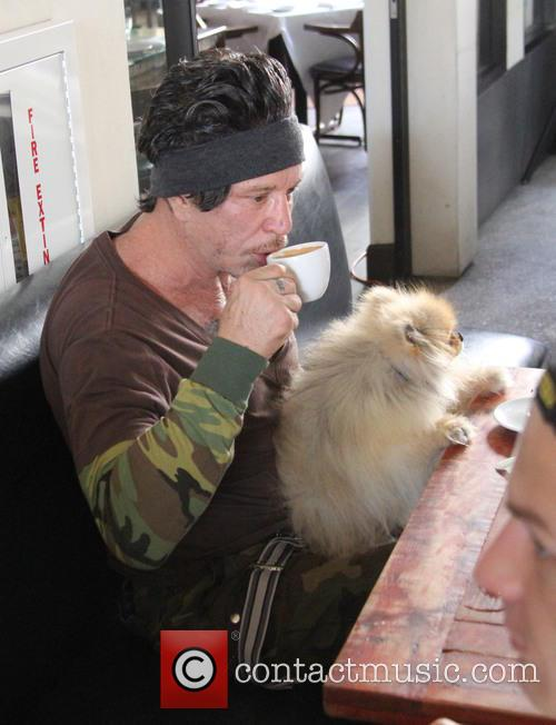 Mickey Rourke goes for coffee at Cafe Roma...