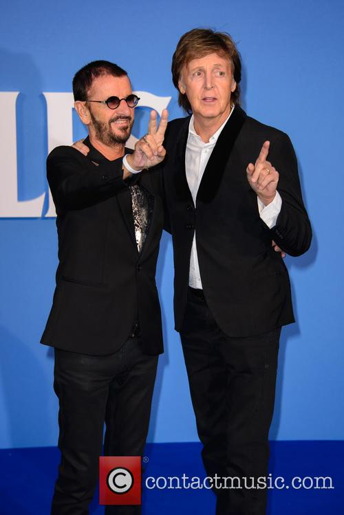 Ringo Starr with Paul McCartney at premiere of 'Eight Days A Week'