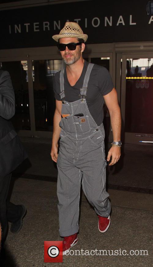 Chris Pine arrives at Los Angeles International Airport...