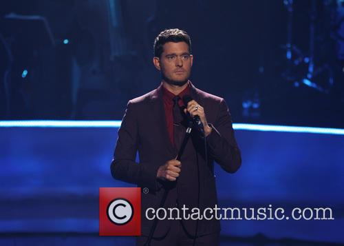 American singer Michael Bublé performing live on stage...