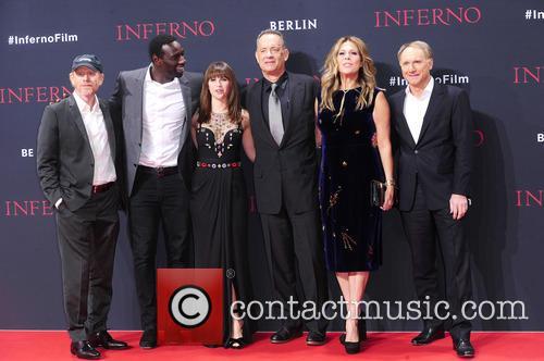 Ron Howard, Omar Sy, Felicity Jones, Tom Hanks, Rita Wilson and Dan Brown 5