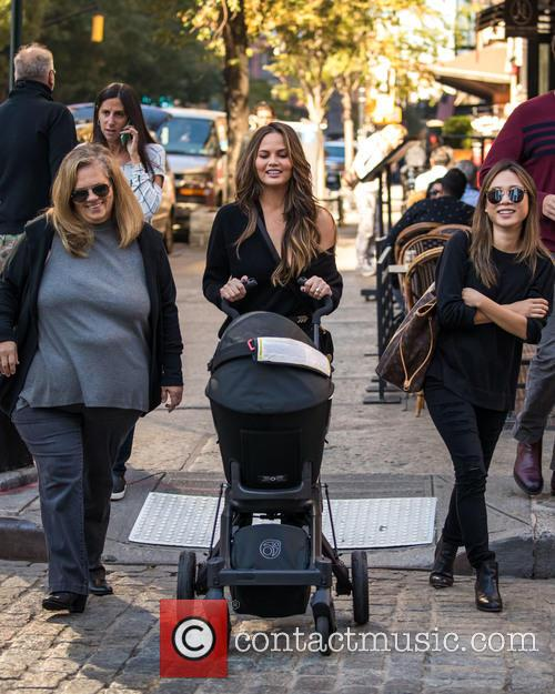 Chrissy Teigen out and about with her baby