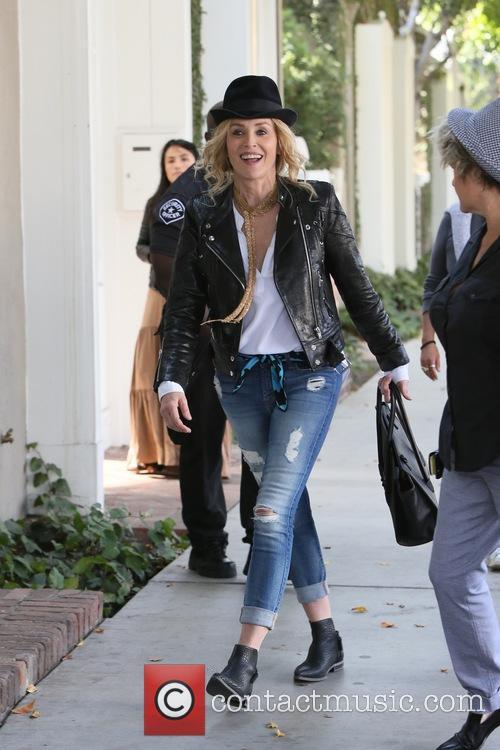 Sharon Stone and Famke Janssen seen filming