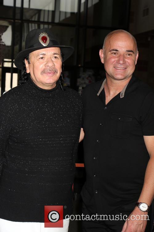 Carlos Santana and Andre Agassi 4