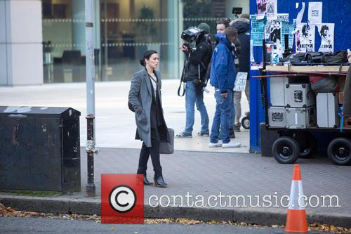 Vicky McClue on set filming the BBC series...