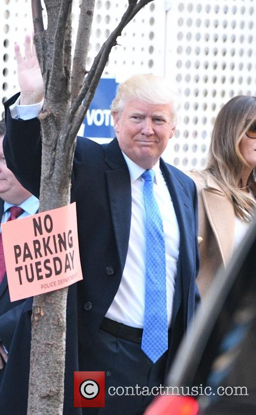 Donald Trump seen going to vote on Election Day