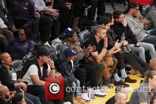 Lil Wayne at the Lakers game with his...