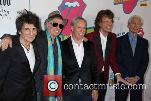 Mick Jagger, Keith Richards, Ronnie Wood, Tommy Hilfiger and Charlie Watts