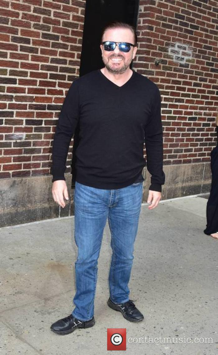 Ricky Gervais outside 'The Late Show with Stephen Colbert'