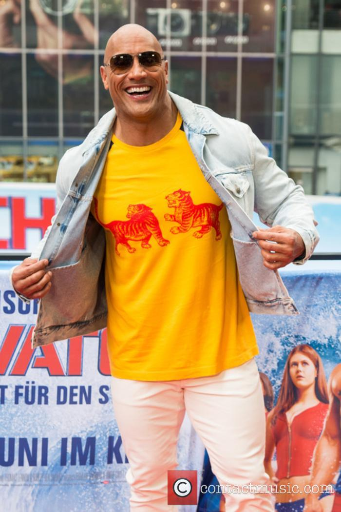 Dwayne Johnson at the Berlin premiere of 'Baywatch'