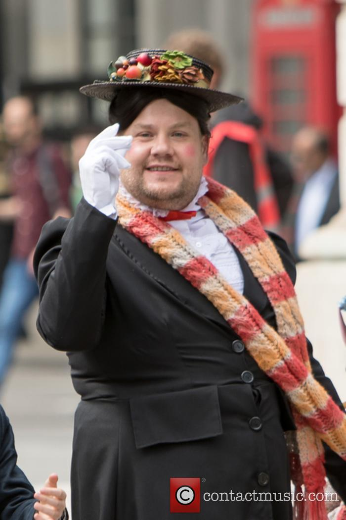 James Corden filming 'The Late Late Show' in London