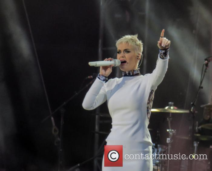 Katy Perry performing at One Love Manchester