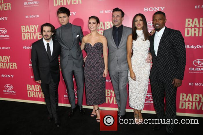 Edgar Wright, Ansel Elgort, Lily James, Jon Hamm, Eiza Gonzalez and Jaime Foxx