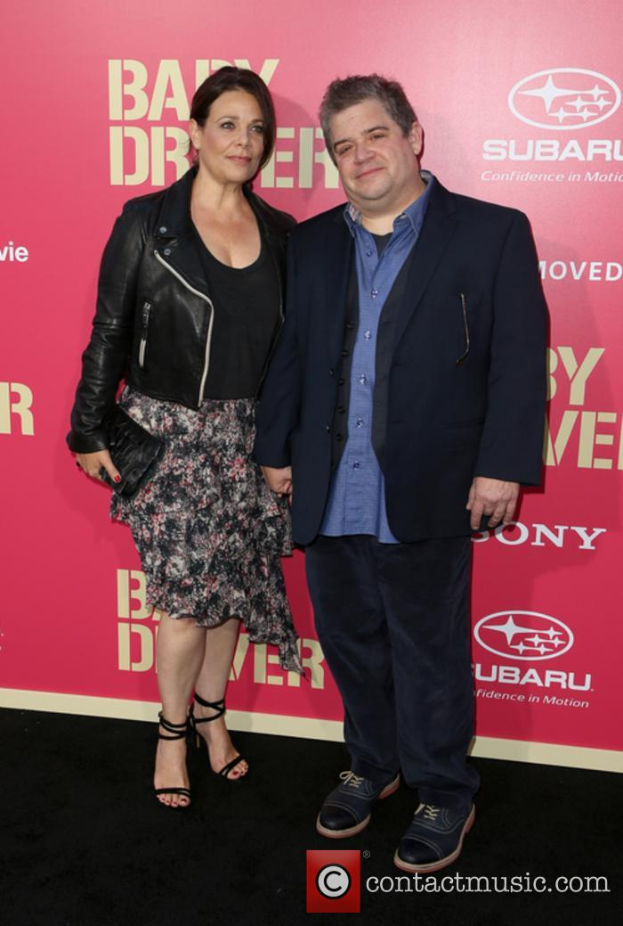Patton Oswalt and Meredith Salenger at the premiere of 'Baby Driver'