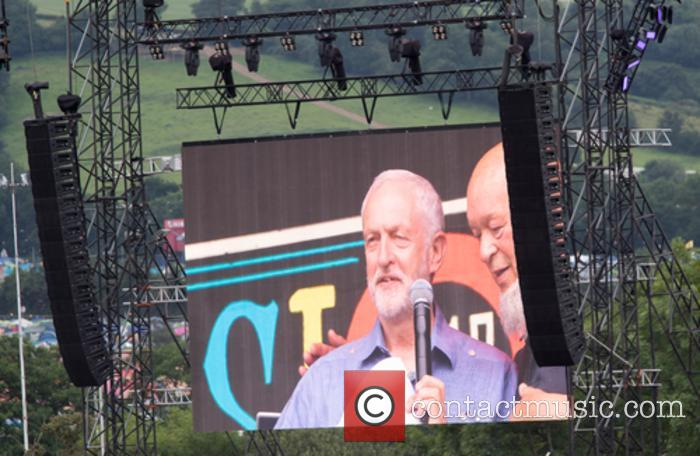 Jeremy Corbyn speaks on the Pyramid Stage