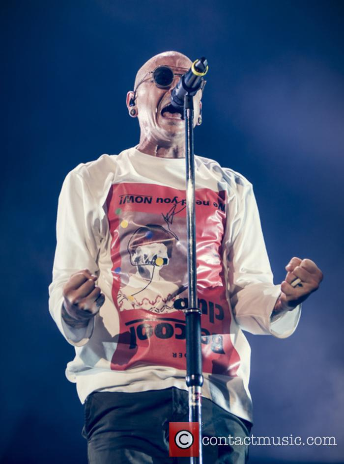 Chester Bennington performing with Linkin Park live in Brixton