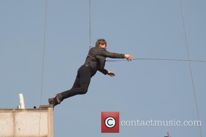 Tom Cruise filming stunts for Mission Impossible
