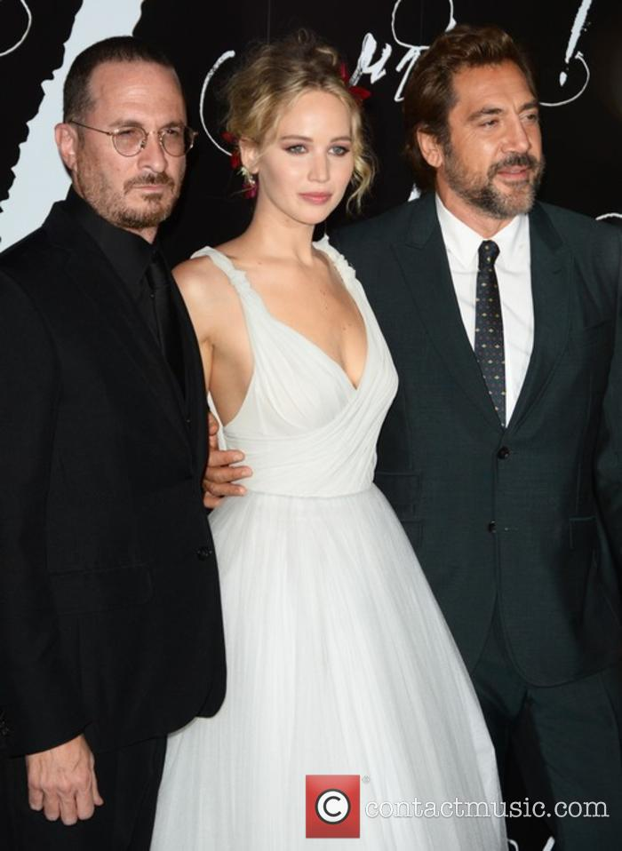 Darren Aronofsky, Jennifer Lawrence and Javier Bardem at the 'mother!' premiere