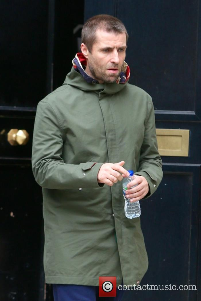 Liam Gallagher outside Bauer