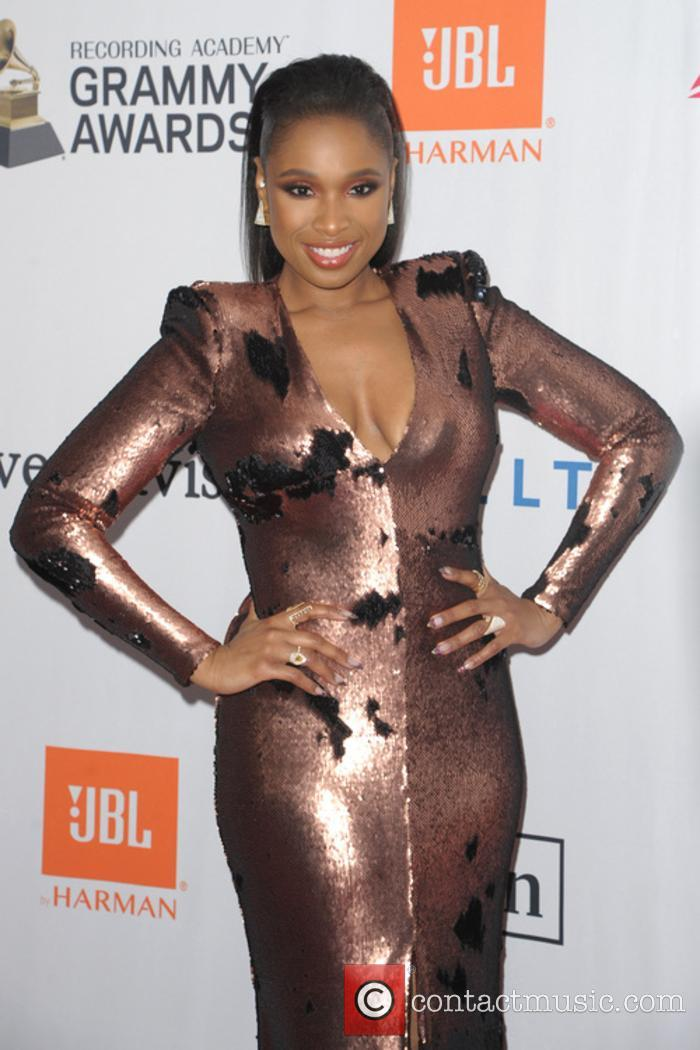 Jennifer Hudson poses outside Clive Davis' annual pre-Grammys party