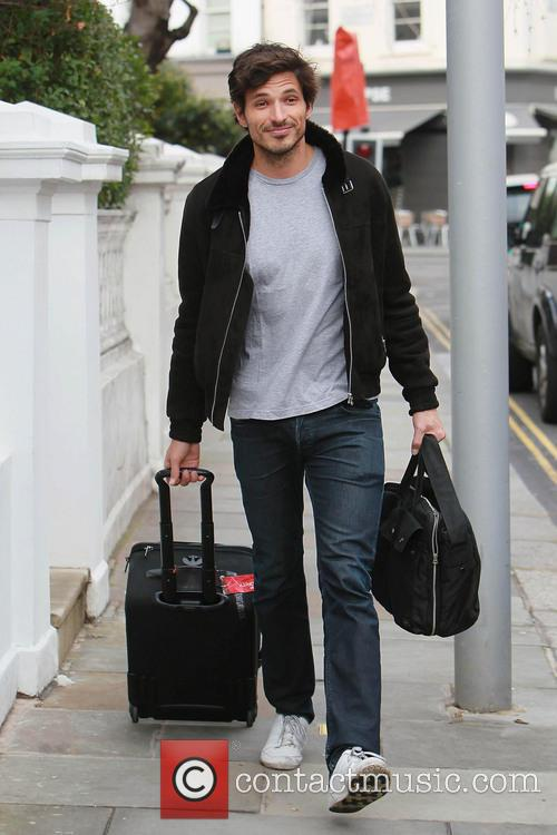 Andres Velencoso leaving his girlfriend Kylie Minogue's house...