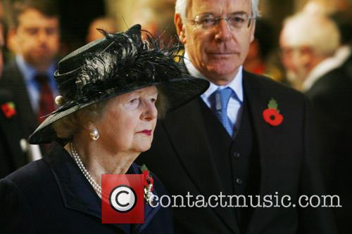 Former Prime Ministers Margaret Thatcher and John Major...
