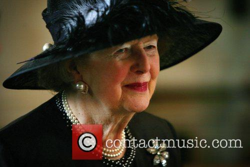 Lady Thatcher arrives at St.Paul's Cathedral for a...