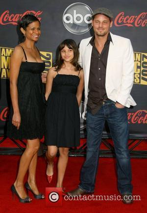 Justin Chambers with daughter and Wife Keisha Chambers 2007 American Music Awards held at the at the Nokia Theatre -...
