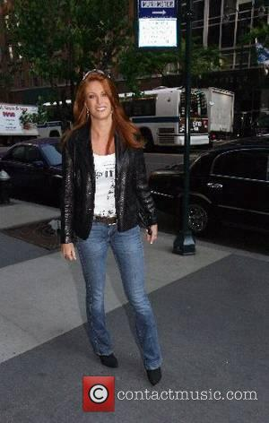 American actress and former fashion model Angie Everhart leaving the CW11 Morning Show New York City, USA - 24.05.07
