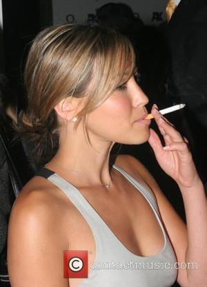 Rachel Stevens standing outside Mocoto nightclub to smoke her cigarette due to the new smoking regulations, when attending Arena Mens...
