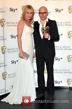Keeley Hawes and Harry Hill  with his award for Best Entertainment Programme for Harry Hill's TV Burps British Academy...