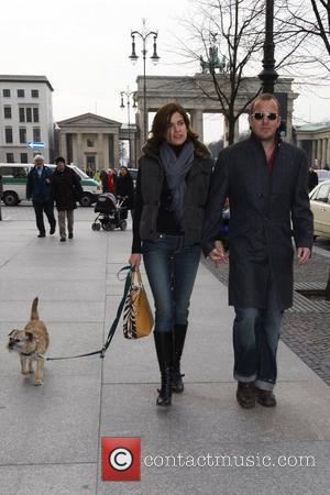 Heino Ferch, Marie-Jeanette Ferch, dog outside Adlon Hotel at Pariser Platz square Berlin Film Festival 2008 (Berlinale) Berlin, Germany -...