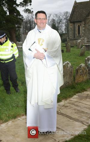 The vicar who will perform the ceremony at the wedding of Billie Piper and Laurence Fox at the Parish Church...