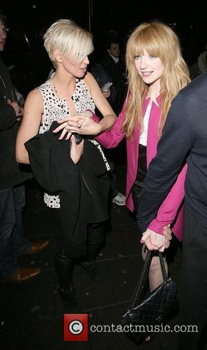 Sarah Harding and Nicola Roberts play up to the cameras, as they leave the 21st birthday party Amy Walsh, sister...
