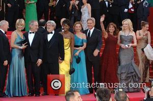 Steven Spielberg, Calista Flockhart and George Lucas